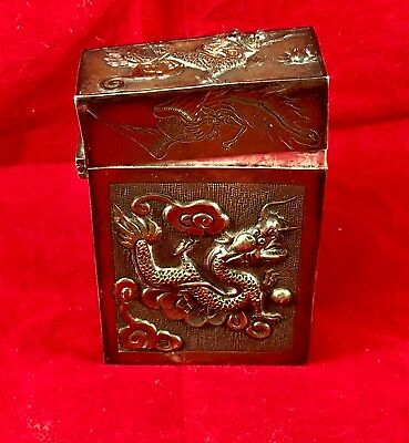 Antique Sterling Chinese Silver Cigarette Case Dragons in Box!!! .999
