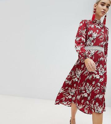 Nwt Asos Boohoo Red Floral Lace Trim Open Back Long Sleeve