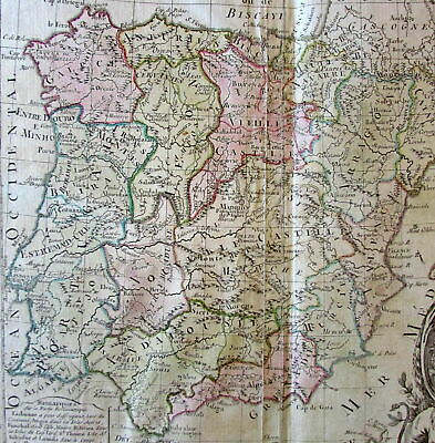 Spain Portugal 1766 Brion Desnos decorative cartouche old map