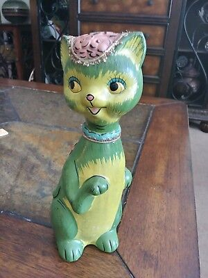 Vintage 1960's Colorful Big Eye Cat bank With Flowers Cat Coin Bank hand painted