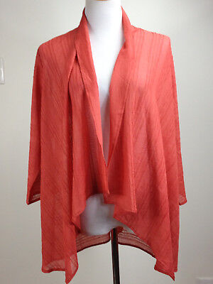 *NEW* CHICO'S Travel Collection 3/4sl 'Crushed Jacket' (Open) - 3 (16), Coral
