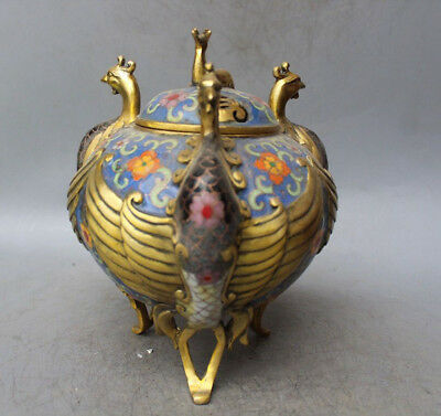 Collectible China Cloisonne Bronze Gilt Three Phoenix Deer Flower Incense Burner