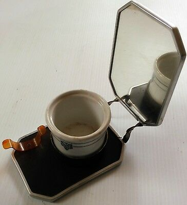 Vintage Folding Shaving Mirror with Brush Clip, Cup Holder and Ceramic Soap Cup