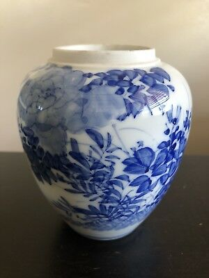 Antique Japanese Blue White Porcelain Vase Ikebana Jar Art Flowers NR