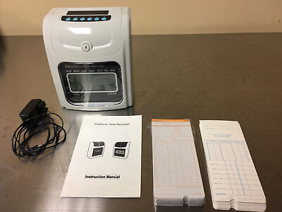 Employee Attendance Punch Time Clock Payroll Recorder LCD Display w/ cards