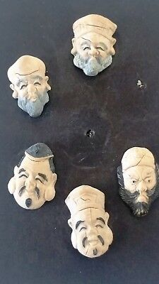 Vintage Five Chinese Face Buttons
