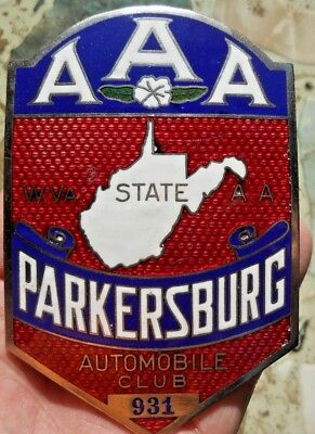Very Old Porcelain Parkersburg Wva Auto Club/ Aaa # 931 Licence Plate Topper