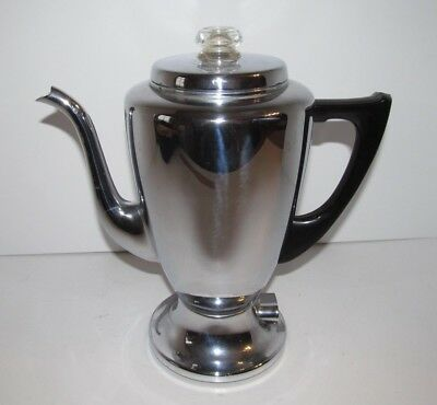 Vintage Mirro Matic 8 Cup 9652M Electric Percolator Coffee Pot Art Deco Style
