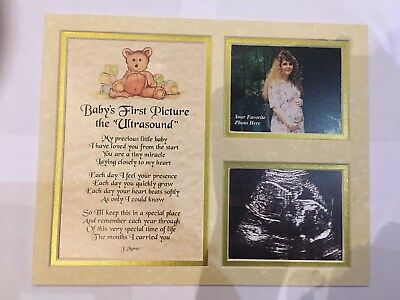 Mum to be , Baby Scan double photo & poem, mounted, Baby Shower keepsake Gift,