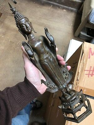 Rare Antique Bronze SE Asian Or Thai Buddhist Standing Buddha Figure Statue