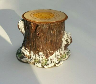 Paper Mache stump candy container/display stand in new size. Medium with Snow