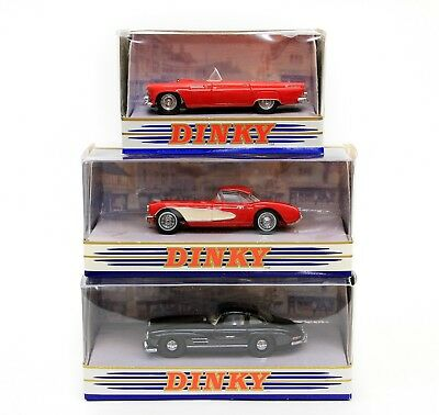 Vintage Dinky Collection LOT of 3 Corvette Mercedes-Benz 300 SL Ford Thunderbird