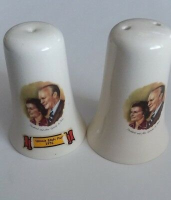 Vintage Salt and Pepper Shakers, Illinois State Fair 1976, Pres.& Mrs. Ford