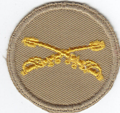 Original WWII US Army Patch - Officer's Cavalry Cap Patch - Khaki Twill