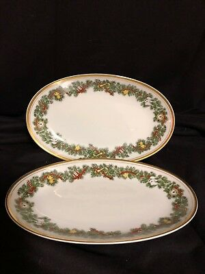 "Fitz & Floyd  St.Nicholas  Two Oval Serving Trays/Dishes  9 3/4"",Great Condition"