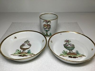 Meissen Cup and Pair of Saucers with Various Urn Decoration  Marcolini period
