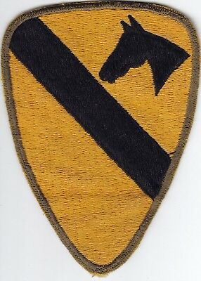 Original WWII US Army Patch - 1st Cavalry Division - OD Bdr - Made in Japan