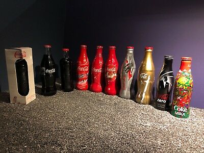 Coca Cola Coke Set of 10 Collectable Bottles - Olympics World Cup Mika Skyfall