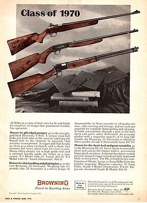 Vintage 1970's Browning 22 Hunting Rifle Print Ad A1