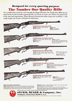 1970 Ruger Hunting Rifles Vintage Print Ad A1
