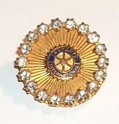 Vintage Rotary International Circle Pin Brooch with Rhinestone Border Goldtone
