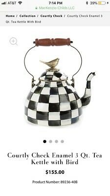 Brand New MacKenzie-Childs Courtly Check3 Qt. Tea Kettle with Bird