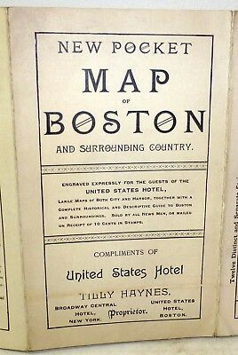 "Rare 1889 ""New Pocket Map of Boston"", United States Hotel; Massachusetts history"