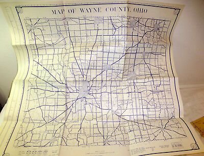 1950 map of Wayne County, Ohio; Wooster, fold-out 28x30 inches