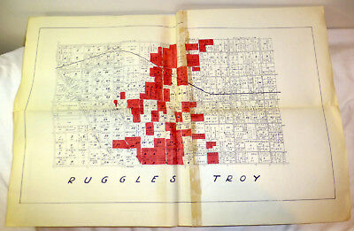 1960s map of Ruggles Troy in Nova, Ohio; foldout