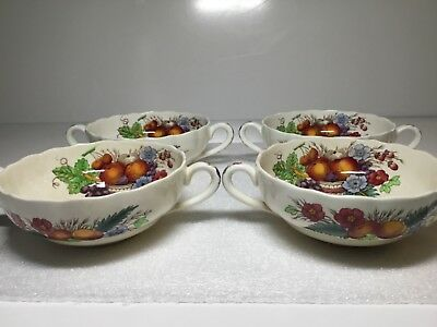 Copeland Spode Set of 4 Cream Soup Bowls Cups Reynolds Fruit and Flowers S 2188