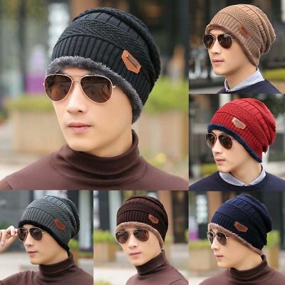 Men's Women Warm Winter Hat Thick Fleece Lining Cap Knit Beanie Casual Ski Hats