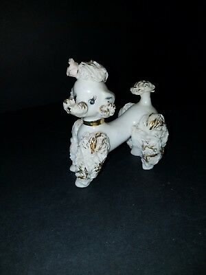 Vintage INARCO Curly French Poodle Dog milk glass figurine 1950s