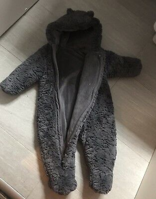 Mothercare 9-12month Grey Fluffy Fur Snow Suit