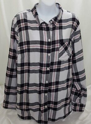 a44191c2e33ae Faded Glory Womens Top Cotton Plaid Button Down Shirt Black Red White Size  2x
