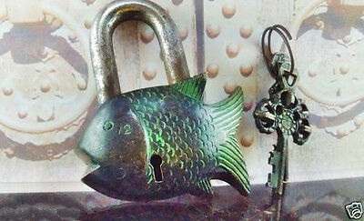 Brass Fish Lock Key 2 Vintage Style Antique Old Padlock Chinese Rare Shape Carve