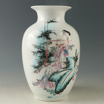 Chinese Porcelain Hand-painted Beauty Vase W Qianlong Mark R1191