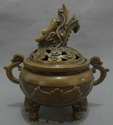 6.7 inch / Chinese Buddhism bronze statue of a lion of the dragon censer