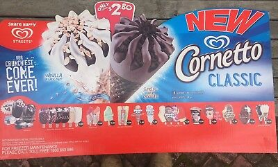 Streets Double Sided Ice Cream Cornetto Paddle Pop Large Milk Bar Poster Sign.