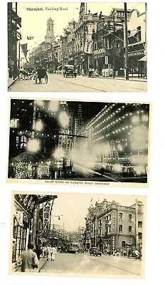 3 RPPC Shanghai China Nanking Road  BW unposted Photo street scene lights 1920's