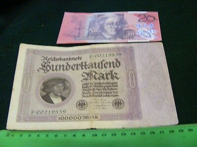 Huge German 100,000-Mark Banknote,Used condition,very nice, from 1923.