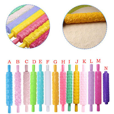 Festival Embossed Rolling Pin Floral Pattern Fondant Pastry Cake Baking Moulds