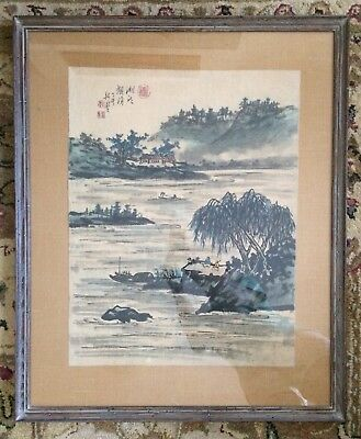 Antique CHINESE PAINTING Hunan Lake LANDSCAPE Scene Signed Silk Wormy Chestnut
