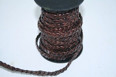 "Flat leather braided cord....5 yards of antique brown   3/8"" wide (10mm) .. v580"