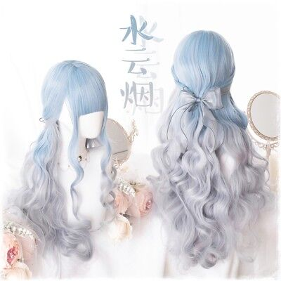 Cos Harajuku Sweet Blue Gray Gradient Girls Princess Dolly Long Curly Hair Wig