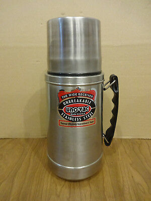 Vintage Uno-Vac Wide Mouth Thermos Wide-Mouth Unbreakable Stainless Steel