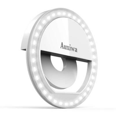 Auxiwa Clip on Selfie Ring Light [Rechargeable Battery] with 36 LED for Smart Ph