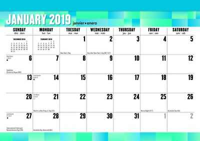 Large Print 2019 Monthly Desk Pad Calendar by Browntrout