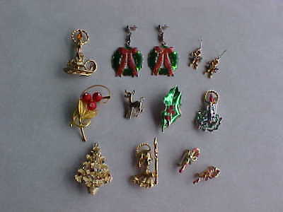 Vintage 11 Piece Assorted Christmas Pin / Brooch / Earring Lot - 1960's era