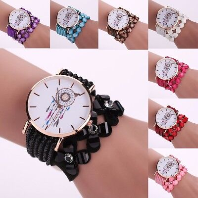 Women's Feather Clover PU Leather Quartz Watch Ladies Casual Wrist Bracelet Gift
