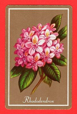 1 Single VINTAGE Swap/Playing Card FLOWERS Named RHODODENDRON #83